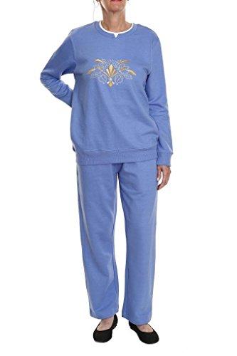 Pembrook Women's Embroidered Fleece Sweatsuit Set-S-Wedgewood Blue