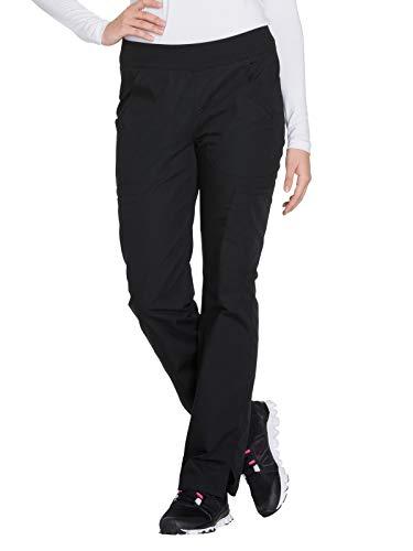 Cherokee Women's Mid Rise Straight Leg Pull-on Cargo Pant, Black, Medium