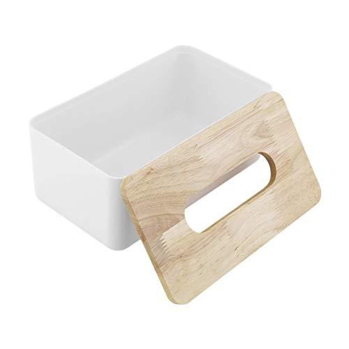 DDyna Caja de pañuelos de Madera de Roble PP, Organizador de contenedores de Coche de Oficina en casa, decoración para pañuelos extraíbles, Forma Rectangular Simple - Madera