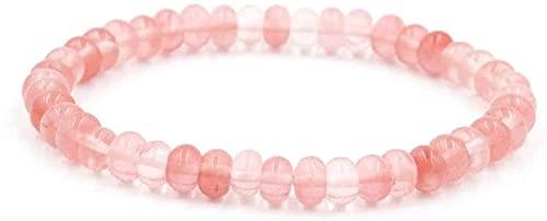 HYJMJJ Pulsera de Piedra Mujer, 7 Chakra Piedra Natural Beads Pink Crystal Elástico Bangle Mujer Yoga Energy Reiki Reza Charm Diffuser Regalo para mamá y amp; Novia Puede traer Buena Sue