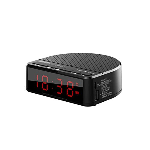 Reloj despertador, radio de carga inalámbrica, sin pinchazos, LED digital, reloj despertador, portátil, portátil, Bluetooth, radio FM, escritorio, color negro