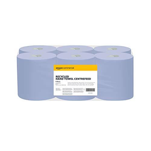 AmazonCommercial Recycelte blaue Papierhandtücher- Innenabwicklung/Innenabrollung, 20*30 cm - 2 lagig - 6 Packungen, 2700 Blatt