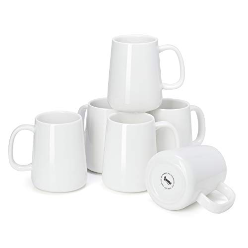 Sweese 610.001 Porcelain Mugs for Coffee, Tea, Cocoa, 14 Ounce, Set of 6, White
