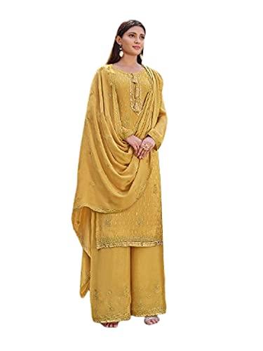 India Punjabi Mujer Brillante AMARILLO listo para usar Chinnon Musulmán Partido eid Salwar kameez Plazzo Traje 6524, Como se muestra, M