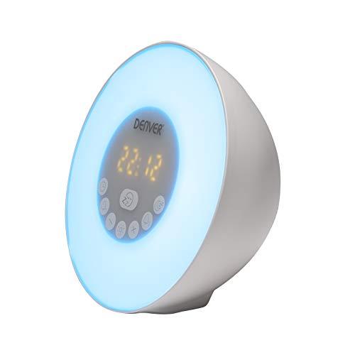 Radio Despertador Denver CRLB-400. Función Bluetooth. Luz de Ambiente. Entrada MicroSD para reproducción de MP3. Alarma Dual. Puerto USB.