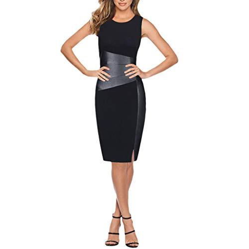 Preisvergleich Produktbild JiaMeng Damen Ärmel Seitenreißnaht Kleid Engen Minirock Bandage,  figurbetontes Kleid Ärmellos Abend Party Cocktail Kurzes Partykleid Gr.32-38