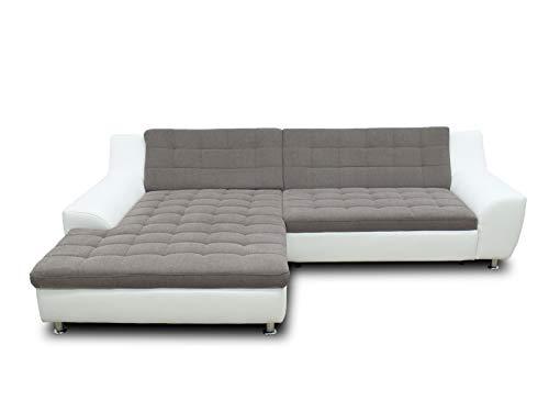 DOMO collection Morton Ecksofa | Sofa in L-Form, Eckcouch Polstergarnitur, braun/weiß, 304x200x84 cm