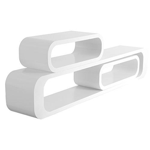 WOLTU RG9230ws estante de pared cubo salón conjunto de 3 sistemas de estanterías de estantería, estantería colgante retro, 95/40/40 cm, blanco