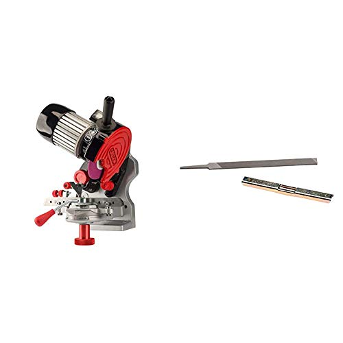 Oregon 410-120 Bench or Wall Mounted Saw Chain Grinder,red & 40466 Chainsaw Depth Gauge Tool and Flat File