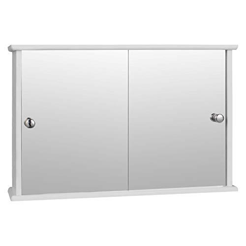 eSituro SBP0029 Spiegelschrank Badspiegel Hängeschrank mit Türen Wandschrank Badschrank Weiß BHT ca: 55x36x14cm