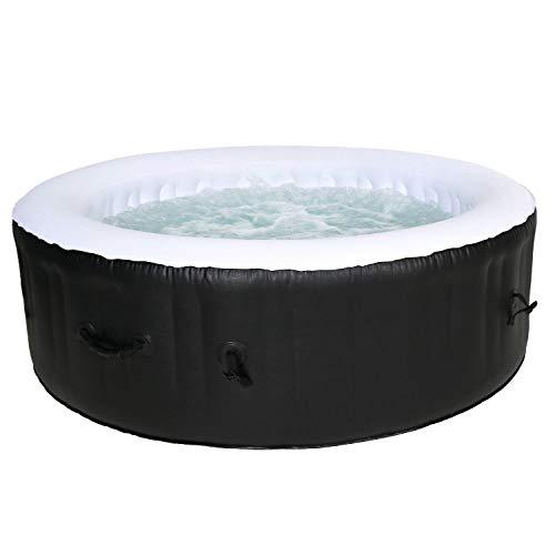 Cocooning Water - Spa Gonflable Rond Ø208cm 5-6 Places - 130 Jets - Filtrage et Chauffage - 1000L - Noir et Blanc - Palma
