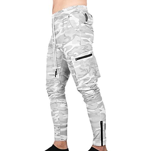 LZJDS Pantalones Deportivos Ajustados para Hombre Deportivos para Correr Pantalones De Entrenamiento Cónicos con Bolsillos,Camouflage White,L