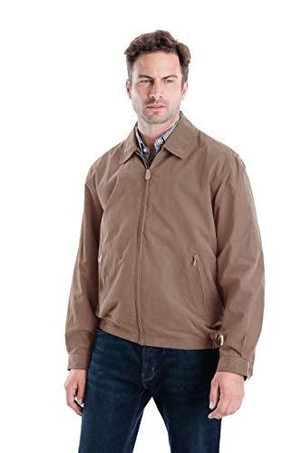 London Fog Men's Auburn Zip-Front Golf Jacket, British Khaki, Large