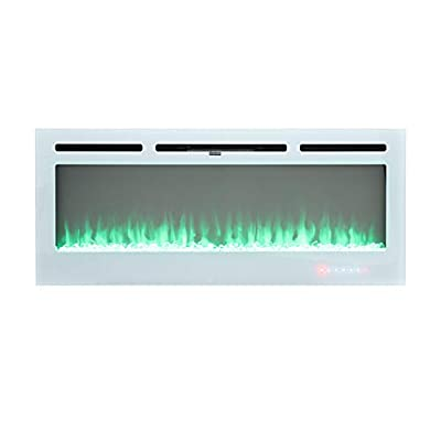 FIDOOVIVIA Electric Fireplace Wall/Insert Mounted Fire Suite Heater with Log/Crystal Effect & 12 Flame Colour Effect for Living Room Bedroom Heater