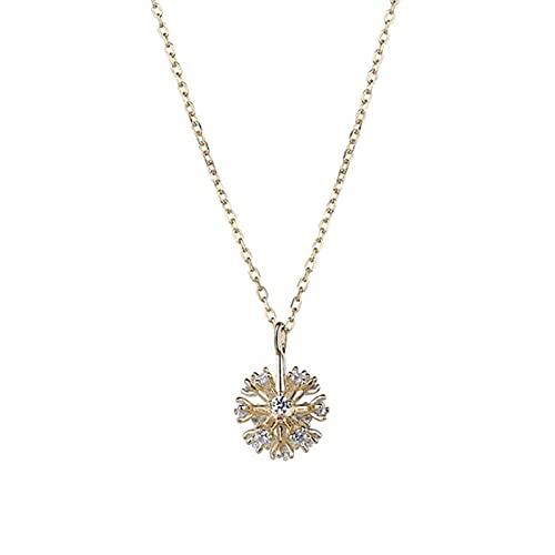 HCMA Collares de Diente de león de Plata de Ley 925 para Mujer, Collares de Temperamento con Cadena de clavícula Simple y Caliente, el Regalo Ideal para Las Mujeres