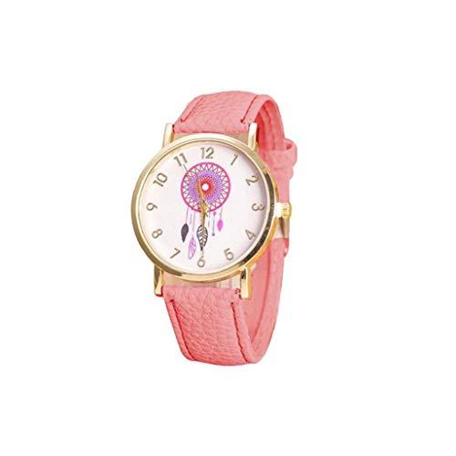 Mode Frauen Traumfänger-Uhr Analog Quarz-Uhr Mit Lederarmband Windbell-Muster-Kleid-Uhr-Geschenk-Rosa