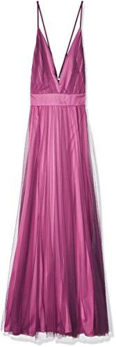 LOB DVVM0555 Vestido Largo con Escote en V y Tirantes Ajustables para Mujer, Color Berenjena, Talla S