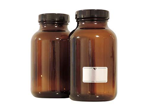 Viva Haushaltswaren Lot de 2 flacons à col Large 1 000 ML/Verres à col Large, flacons de Pharmacie en Verre Brun avec étiquettes
