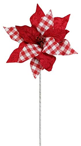 Craig Bachman 24' Check Poinsettia Stem: Red/White - Red Gingham Check Poinsettia Floral Stem
