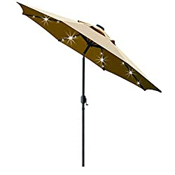 cheap Sunnyglade 9 sun parasol with 24 LEDs and 8 ribs / tilt adjustment and crankstroke…