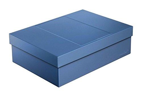 Infinity Boxes Metallbox + Deckel, Aufbewahrungsbox, groß, blau, lebensmittelecht, stapelbar, rechteckig, L25xB18xH8 cm