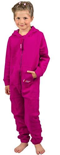 Gennadi Hoppe Kinder Jumpsuit - Jungen, Mädchen Onesie Jogger Einteiler Overall Jogging Anzug Trainingsanzug, pink,122-128