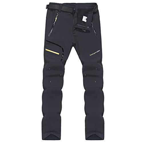 ZOEREA Pantalons de Randonnée Homme Softshell Doublé Polaire Coupe-Vent Outdoor Sport Travail Escalade Camping Trekking Montagne Pantalon (XXL, Style 1 Gris(sans Polaire))
