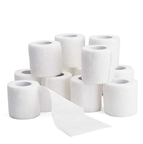 TOBWOLF 12PCS Self Adhesive Bandage, 2'x5yd / 5cmx4.5m Cohesive Elastic Bandage Wrap Gauze Roll, Breathable Sports Tape, Medical Vet Wrap for Wrist Ankle Knee Leg Sprains Swelling - White