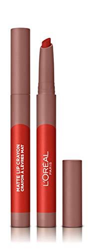 LOreal Paris Make-up Designer - Pintalabios Matte Crayón 110 Caramel Rebel permanente, rojo - 22 ml