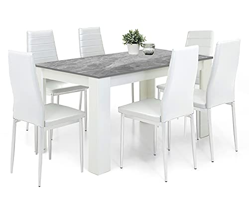 Dining Table And Chairs Set 6 White Pu Leather Foam Ribbed High Back Padded Chairs With 16mm Thick Table Top 140x80cm Long Grey Wooden Dining Table Modern Design Dining Room Set Home Kitchen Furniture