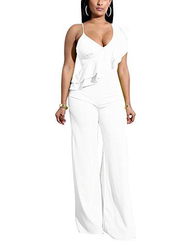 Mono Jumpsuit Escotado V-Cuello Cintura Alta Pantalones Anchos Trajes Largo para Mujer Blanco L