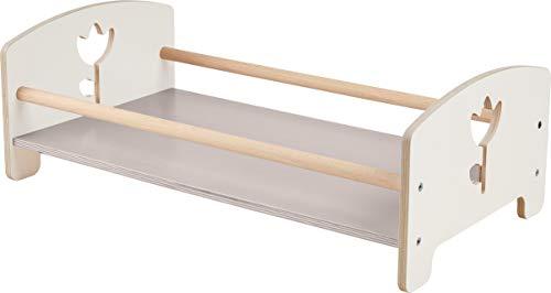 HABA 304858 - Puppenbett Tulpentraum, Zubehör für alle HABA-Puppen, Bett aus Holz mit Tulpendekor, in weiß, ab 18 Monaten