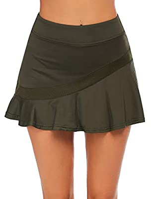 Ekouaer Women's Athletic Skort Build-in Shorts with Pockets Soft 2 Layer Workout Skirt with Pockets ArmyGreen