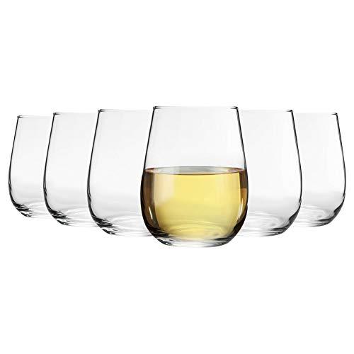 Argon Tableware 6 Pieza Corto sin pie Copas de Vino Set - Estilo Moderno de Cristal Vasos para Rojo, Vino Blanco - 360ml