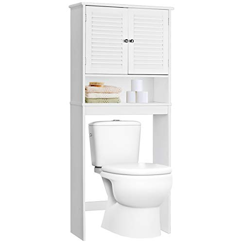 Giantex Over-The-Toilet Bathroom Storage Space Saver with 2 Door Cabinet Storage Shelf, White