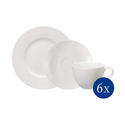 vivo by Villeroy & Boch Group - Basic White Kaffee-Set, 18 tlg., für bis zu 6 Personen, Premium Porzellan, spülmaschinen-, mikrowellengeeignet, weiß