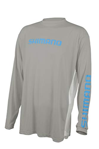 Shimano Long Sleeve Tech Tee Fishing Gear, Gray, LG