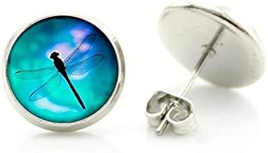 Romantici orecchini a bottone a forma di libellula blu, da donna, stile vintage, a forma di ape regina, coccinella, farfalla, insetto, idea regalo per bambini