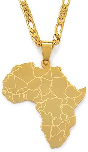 Liuqingzhou Co.,ltd Collar Collar Mapa de África Collares Pendientes Mujeres Hombres Color Dorado Joyería Africana