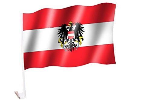 Sportfanshop24 2 Stück/1 Paar Autoflagge/Autofahne Österreich mit Adler/Bundesadler - Fahne/Flagge für Auto 2X - car Flag
