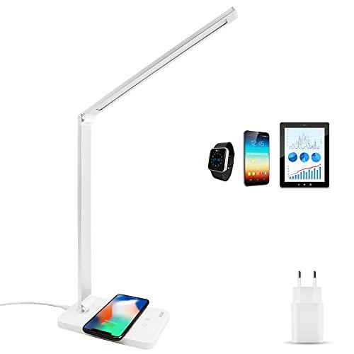 Lámpara de Escritorio LED, AGM 2 en 1 Lámpara de Mesa Oficina con Qi cargador inalámbrico Control Táctil, USB Recargable 4 Colores y 7 Brillos Ajustables, Temporizador de Apagado