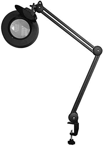 AGWa 8X Lupenleuchte - 30 LED-Vollspektrum Tageslicht Vergrößerungsglas-Glas beleuchteter Lens - Verstellbare Schwenkarm Industrie Halterung für Schreibtisch, Tisch, Handwerk oder Werkbank -Schwarz