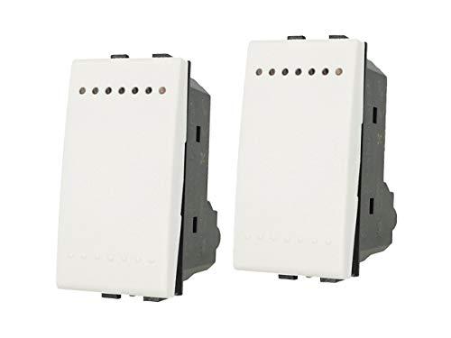LEDLUX - 2 piezas de frutas dispositivos de control compatible con Bticino Living – (interruptor unipolar, blanco)