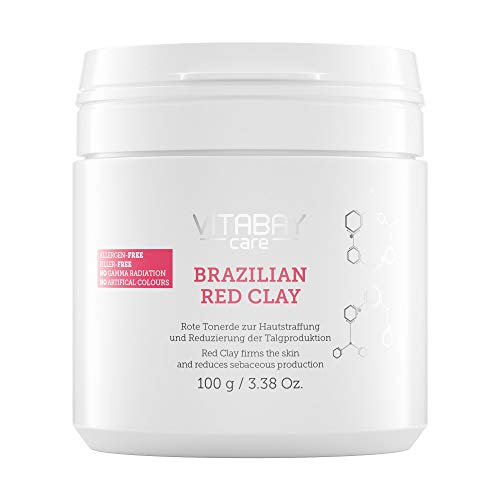 Brazilian Red Clay 100g - hautstraffende Tonerde reduziert Talg. Anti-Aging Detox Maske zum Anrühren