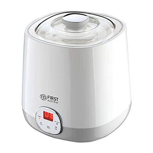 TZS First Austria Elektrischer Joghurtbereiter mit 1 L abnehmbarem Glas, 2 Automatikprogrammen, Timer und Auto-Stop-Funktion, wei? und grau, 20 W