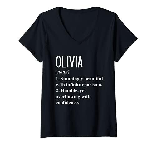 Mujer Olivia Nombre Definición Personalizada Regalo Idea Camiseta Cuello V