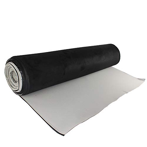 Suede Headliner with Foam Backed Fabric 60' Width,Replacement Aging/Faded/Broken,Color and Style Choice (Black, 48' x 60')