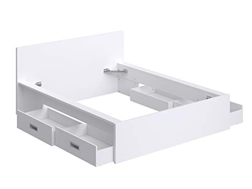 Amazon Brand -Movian Havel 4-Drawer Double Bed Frame with Headboard, 196 x 162.2 x 80cm, White