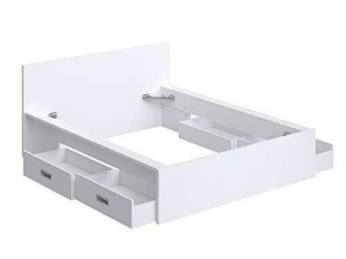 Amazon Marke -Movian Havel modernes Doppelbettgestell mit Kopfteil und 4 Schubladen, 196 x 162,2 x 80, Weiß