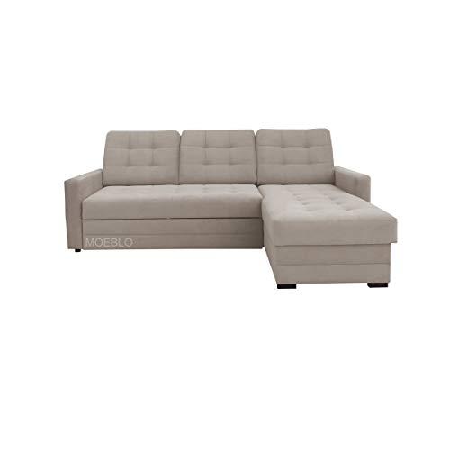 mb-moebel Ecksofa mit Schlaffunktion Eckcouch mit Bettkasten Sofa Couch L-Form Polsterecke GENEWA I (beige, Ecksofa rechts)